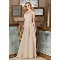 Morilee Bridesmaids 145 Lace Cap Sleeve Floor Length Bridesmaids Dress