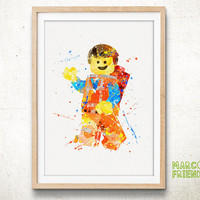 Lego Minifigure, Lego Toy Man - Watercolor Art Print, Room Decor, Kids Toy Poster, Home Baby Nursery Wall Art