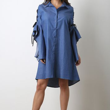 Chambray Button-Up Lace Flounce Statement Sleeve Dress