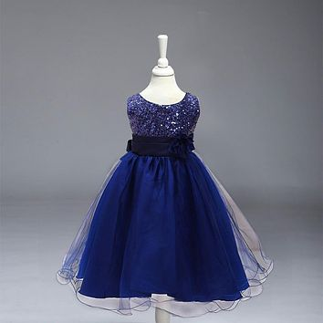 Retail New High Quality Fashion Sequined Flower Girl Dresses Princess Toddler Girls Children Kids Girl Dresses L-100DK
