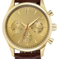 Men's Vince Camuto Multifunction Embossed Leather Strap Watch, 42mm - Brown/ Gold