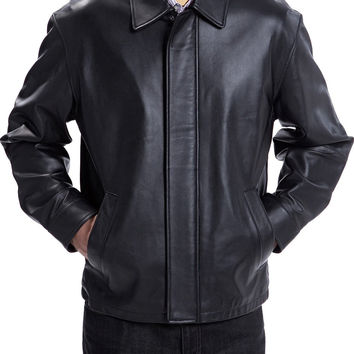 Plain black classic leather jacket with collars