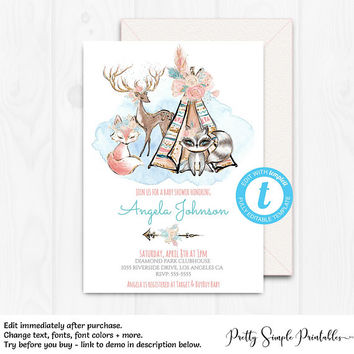 Boho Woodland Baby Shower Invitation, Girl Woodland Theme, Floral, Editable Invitation Template, Glitter Baby Shower, Printable, WD04