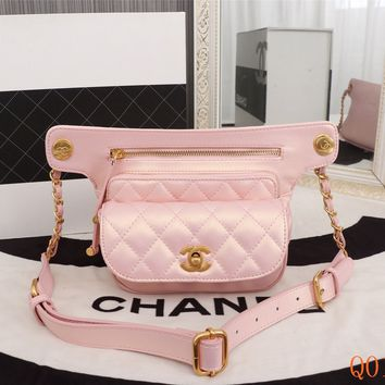 HCXX 19Aug 089 8189 Fashion Double Pocket Shoulder Embossing Flap Bag 21-15-6cm Pink