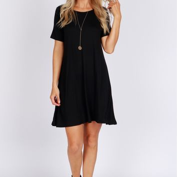 Simple Shift T-Shirt Dress Black