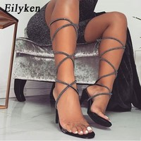 Eilyken 2019 New Gladiator Ankle Strap Women Sandals Lace-Up High Heels 10CM Sandals Sexy Cross-tied Shoes Black size 35-40
