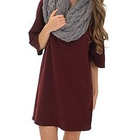 Double Sleeve Shift, Burgundy :: NEW ARRIVALS :: The Blue Door Boutique