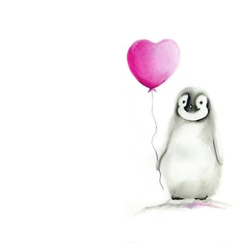 Penguin with Balloon, Baby girl nursery, Baby Animal Art, Heart and Love, Childrens Art, Pink and Grey, Nursery Wall Decor, Painting, Print