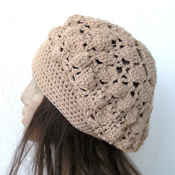 Spring Fashion - Womans Crochet Hat - Summer  Pastel  Fashion -  beret beige Cotton  womens hat Slouchy  Beanie   mothers day  Accessories