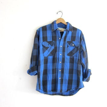 Vintage blue and black Buffalo check Plaid Flannel / distressed Grunge Shirt / boyfriend shirt