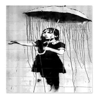 Banksy Graffiti Umbrella Girl Shower Curtain> Coastal, Vintage and Urban Chic Shower Curtains> Rebecca Korpita Coastal Design