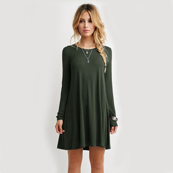 Winter Stylish Simple Design Green Long Sleeve Women's Fashion One Piece Dress [6049230273]