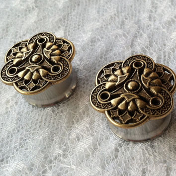 "Steampunk Gold Brass Tone Vintage Style Pair Plugs Gauges Size: 9/16"" (14mm), 5/8"" (16mm)"