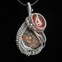 Ocean Jasper Wire Wrapped Pendant in Sterling Silver