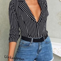 US Fashion Women Striped Blouse Lady Sexy Deep V-Neck Top Casual Long Sleeve Top