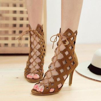 High Heel Ankle Shoes Cutout Lace Up Open Toe Gladiator Sandals Stiletto Pumps