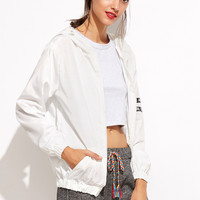 White Letter Print Zipper Hooded Jacket