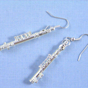 Flute Earrings silver Instrument Music Orchestra silver plated Musician Band Miniblings