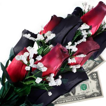 Black & Red Bouquet | Cash Roses®