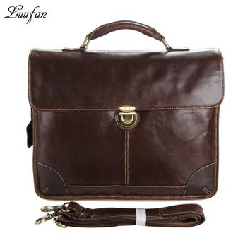 Men's genuine leather briefcase glossy double layer laptop shoulder bag Cow leather business bag real leather work bag
