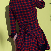 Red Checked Print Lace-Up Long Sleeve Dress