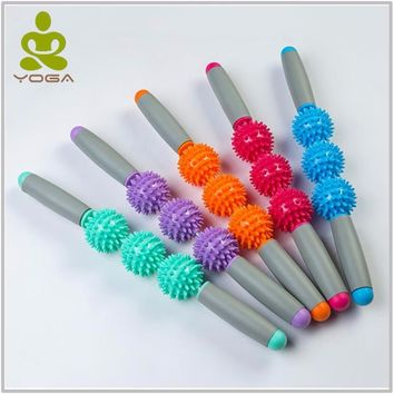18inch Gym Muscle Massage Roller Yoga Stick Muscle Body Massage Relax Tool Muscle Roller Sticks with Point Spiky Ball
