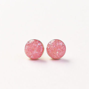 Small Peach Pink Stud Earrings, Glitter & Crush Shell Stud Earrings, Sparkly Pink Stud Earrings, Hypoallergenic, Resin Jewelry, For Her
