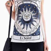 Geometric Print Sleeveless Graphic T-shirt