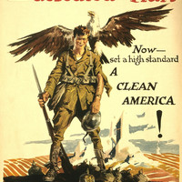 WWI Poster You Kept Fit And Defeated The Hun Now Set A High Standard, A Clean Am