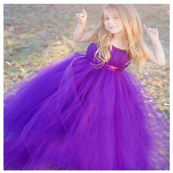 2017 new arrival flower girl dress purple elegant cute small girl princess gown for wedding party pink silver grey champagne
