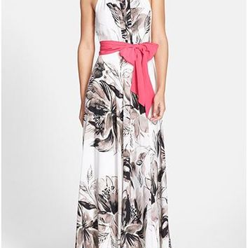 Chiffon Maxi Dress - Black and Brown Botanical Print / White Background / Pink Bow Sash / Pleated