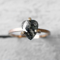 Ready to ship - one of a kind - trinity black celestial pear diamond in rose gold fill band