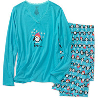 Walmart: Simply Basic - Women's Sleep Tee and Print Pajama Pants
