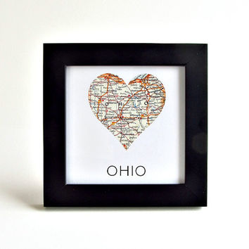 Ohio Map Art / Ohio Map Heart / Gifts under 30 / Hostess Gifts / Coworker Gift / Christmas Gifts for Grandparents  / Ohio Themed Gifts