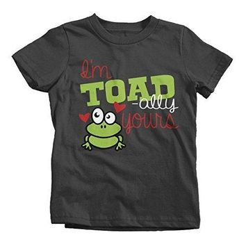 Shirts By Sarah Youth Toadally Yours Kids Funny Frog Valentines Day T-Shirt Boy's Girl's