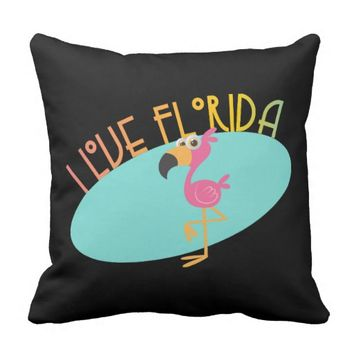 I Love Florida Flamingo Throw Pillow