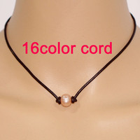 Leather peral necklace,pearl and leather necklace,single pearl leather necklace,pink freshwater pearl necklace,one pearl leather choker