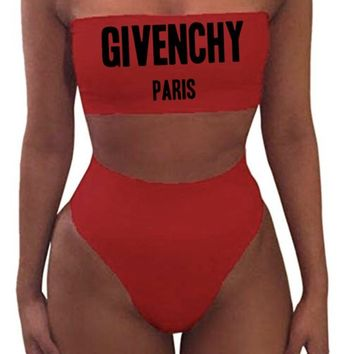 Givenchy Designer Inspired Women's Two-Piece Swimsuit, Givenchy Bikini Bathingsuit with Removable Straps