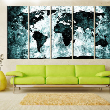 turquoise world map wall art canvas print, extra large wall art, large world map canvas print, abstract world map art print No:9s18