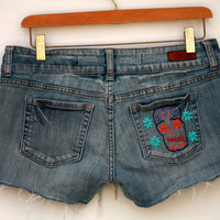 Sugar Skull Frayed Denim Cut Off Shorts - Dolphin Hem - Upcycle