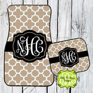 Car Mats Quatrefoil Personalized Monogrammed Floor Car Mat Initial Tan Black White