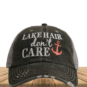 Distressed Trucker Hat Lake Hair Don't Care Custom Embroidered Trucker Hat  Girl Summer Hat  Women's Trucker Cap Southern Men's