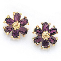 14K Yellow Gold Amethyst Flower Earrings, Flower Earrings, Amethyst Earrings, Floral Jewelry, Amethyst Jewelry, Flower Jewelry