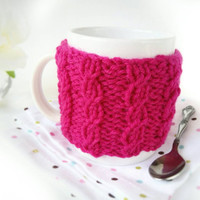 Knit Coffee Cup Warmer – Pink Coffee Mug Warmer – Coffee Mug Cozy – Coffee Cozy – Coffee Warmer – Pink Mug Cozy – Gift for Coworker
