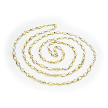 """14k Gold Plated Sterling Silver Imitation Oval Diamond by The Yard Necklace, 36"""""""