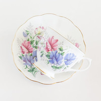 ROYAL ALBERT Sweet Pea Friendship Series Tea Cup and Saucer