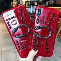 GUCCI Tide brand luxury iPhoneX mobile phone case all-inclusive protective cover Red