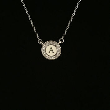 Initial Necklace or Symbol Cream Epoxy & Austrian Crystals A-Z