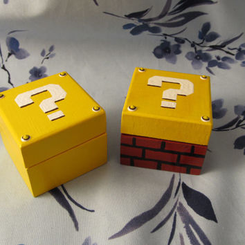 Question Mark Mystery Block handpainted Ring Box yellow and white with brick bottomstyle for geeky wedding or engagement