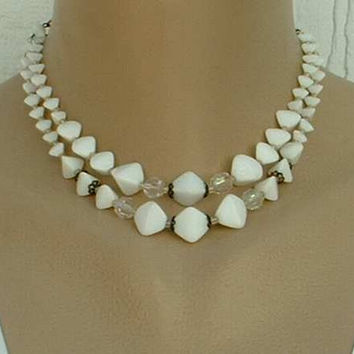 M.WL01 Signed White Art Deco Style Glass Bead 2-Strand Necklace c1960 Vintage Jewelry